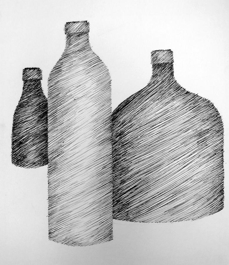 Still Life With Three Bottles Drawing