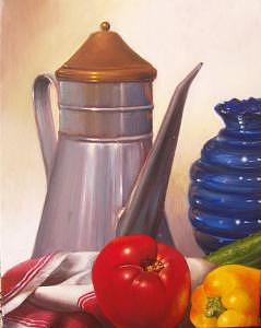 Still Life With Tomato Painting by Lauren Cole Abrams