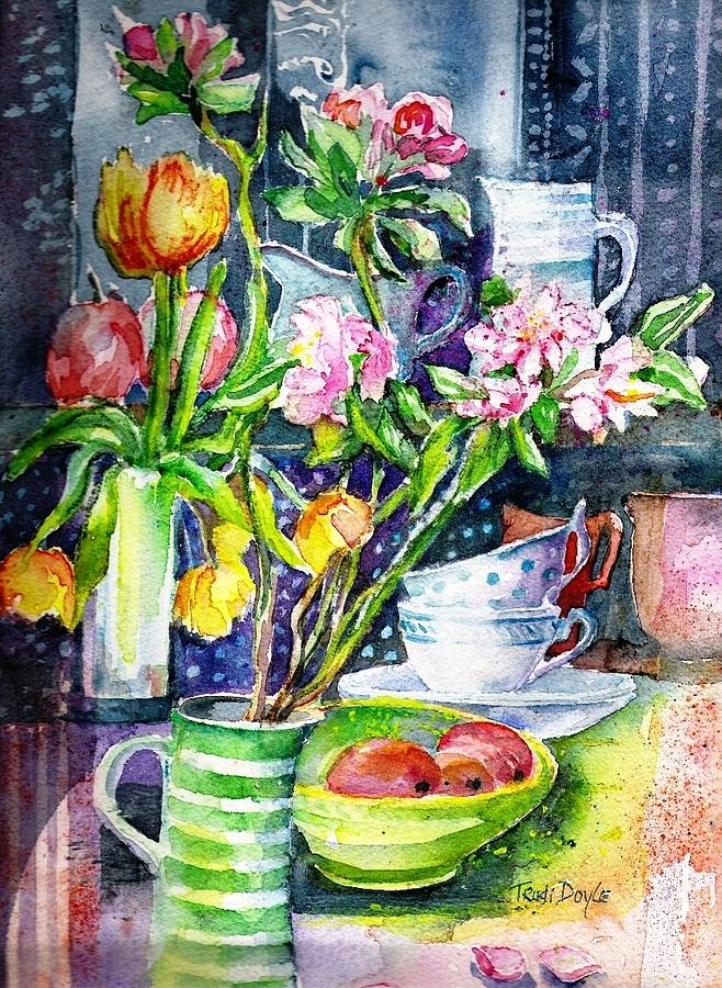 Still Life Painting - Still Life With Tulips And Apple Blossoms  by Trudi Doyle