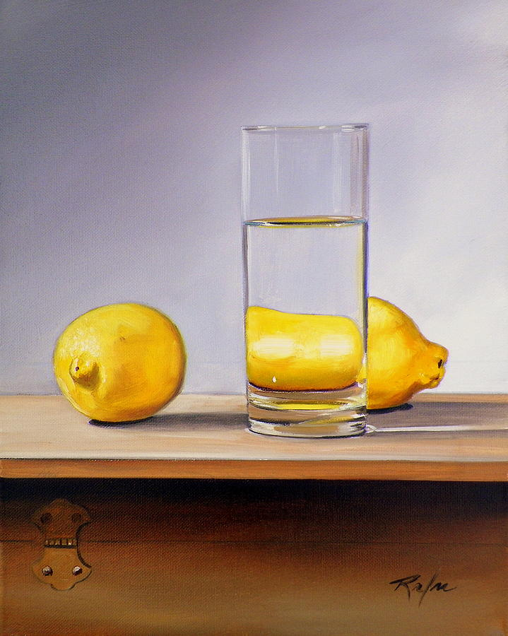 still life with two lemons and glass of water painting by rb mcgrath