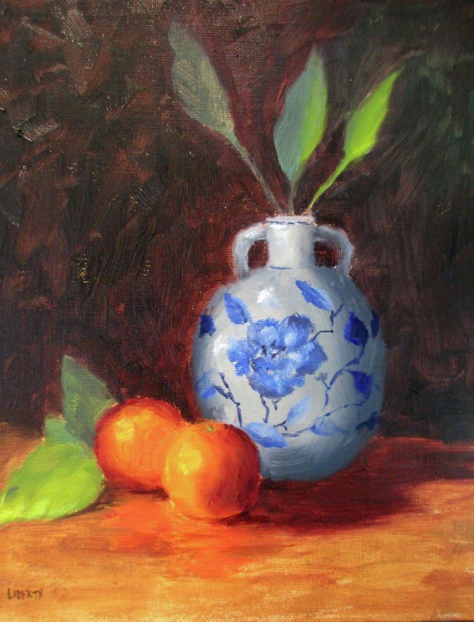 Oranges Painting - Still Life With Vase And Fruit by Liberty Dickinson