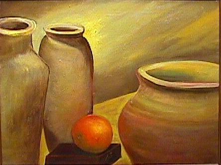 Still Life Painting - Still life with Vases and orange by Janine Shideler