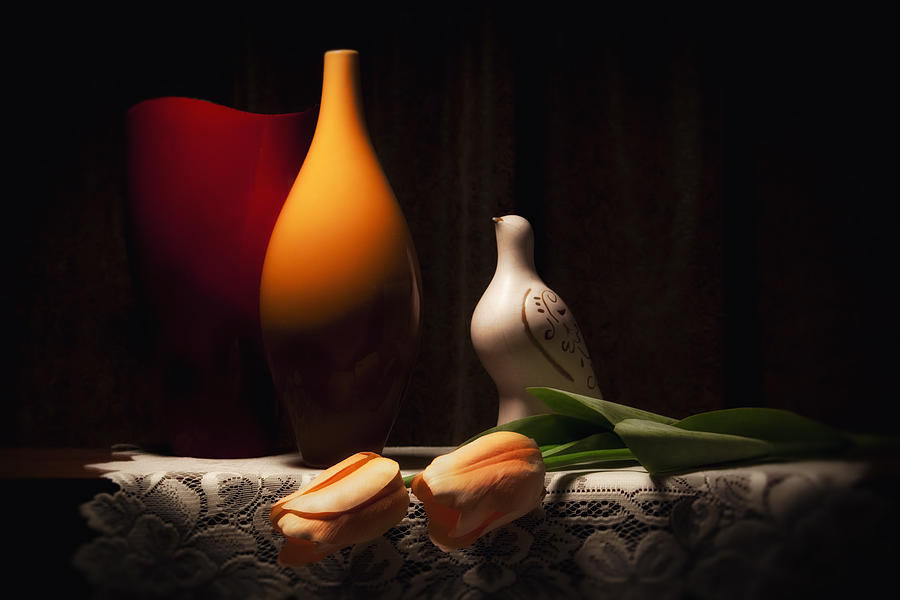 Vase Photograph - Still Life With Vases And Tulips by Tom Mc Nemar