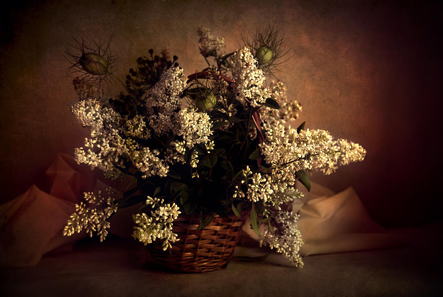 Flowers Photograph - Still Life With White Flowers In The Basket by Jaroslaw Blaminsky