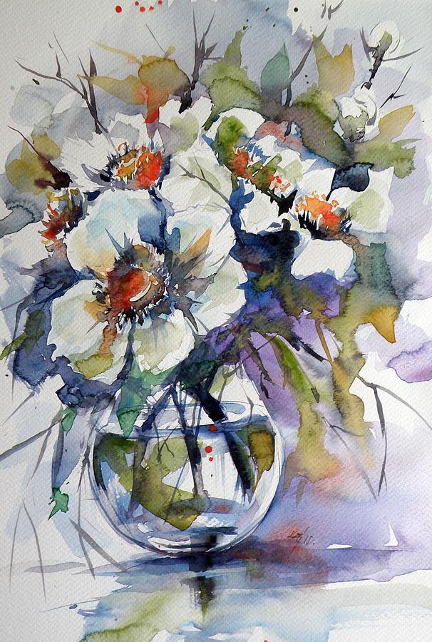 Still Life With White Flowers Painting By Kovacs Anna Brigitta