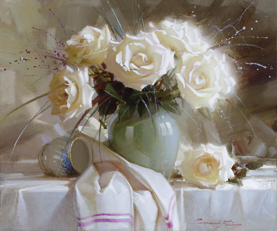 Still Life With White Roses Painting By Ramil Gappasov