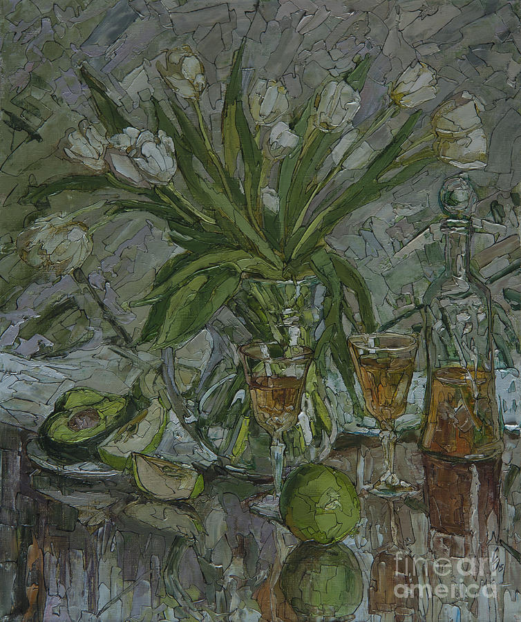 Still Life With White Tulips Painting by Sergey Sovkov
