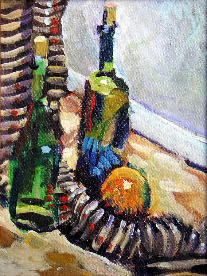 Still Life Painting - Still Life With Wine Bottles by Piotr Antonow