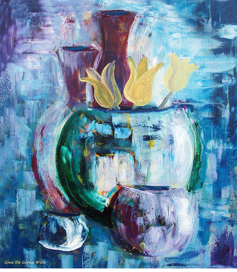 Still Painting - Still Life With Yellow Tulips by Gina De Gorna