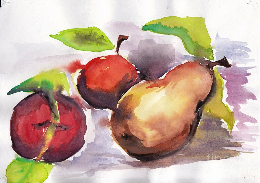 Apple Painting - Still  Nature 4 by Nyna Niny