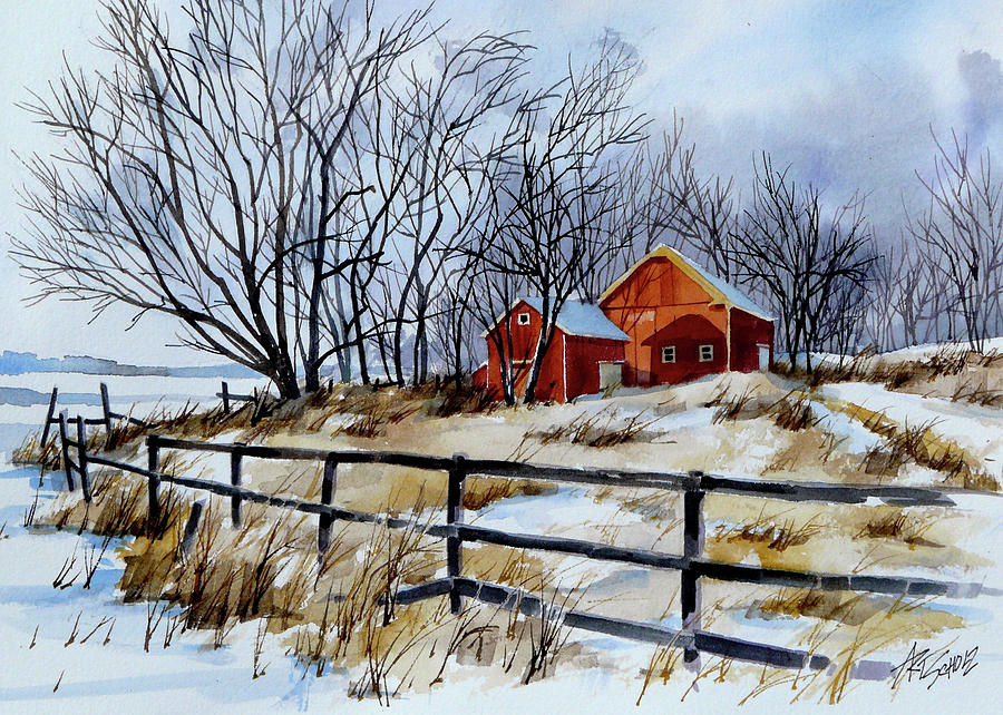 Barns Painting - Still Some Snow by Art Scholz