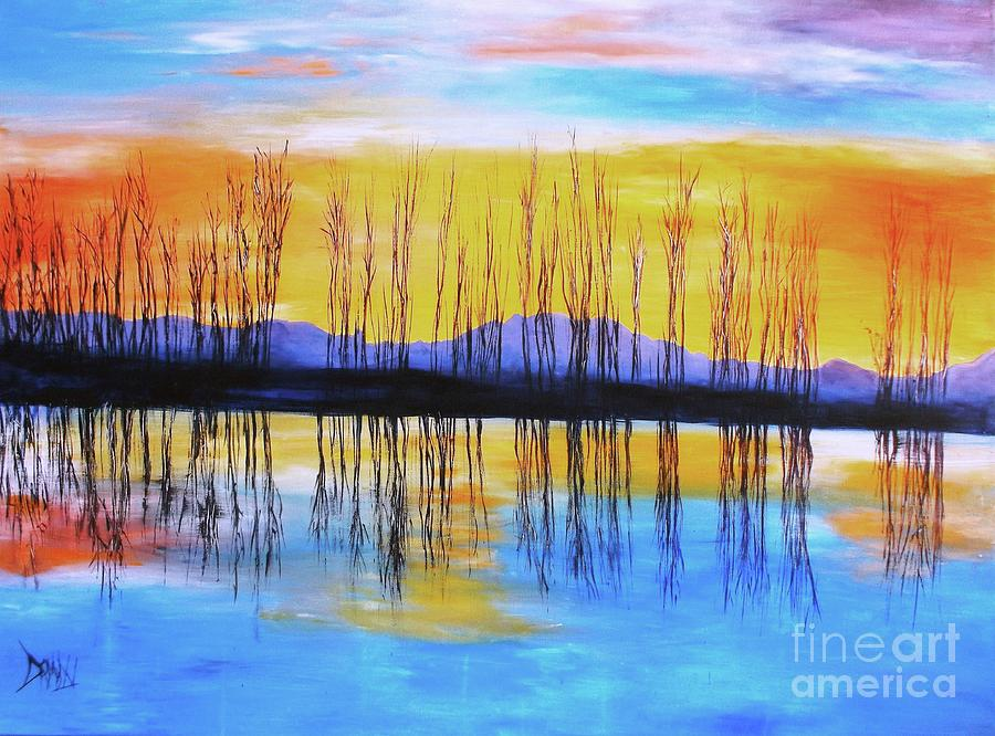 Sunset Painting - Still Waters From The Water Series  by Donna Dixon