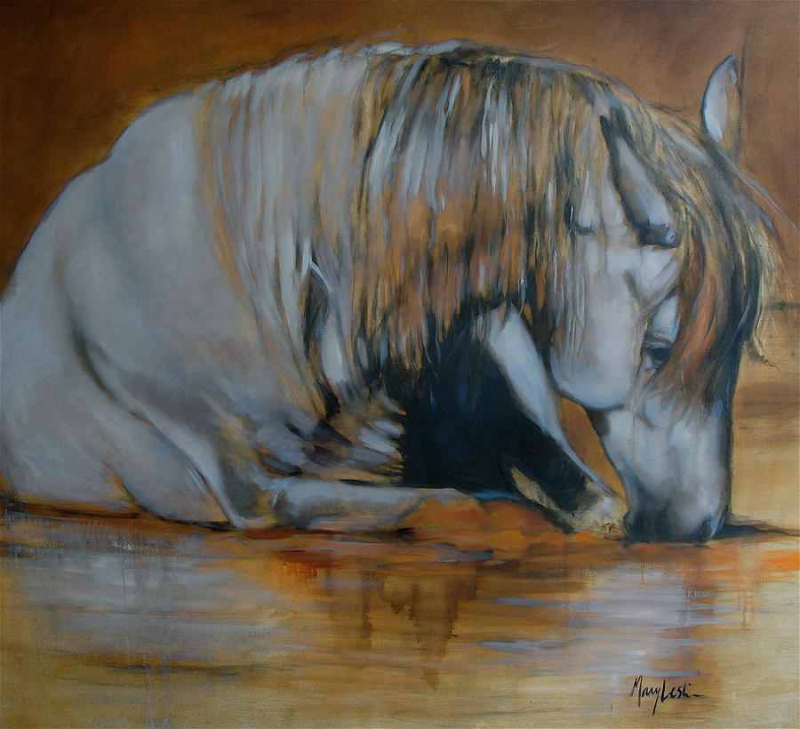 Horses Painting - Still Waters by Mary Leslie