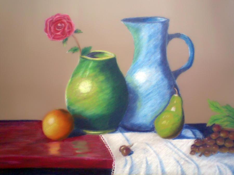 Pear Pastel - Still Work by Bhupinder Singh