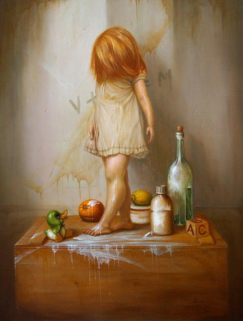 Figurative Painting - Stilllife With Girl by Vaidotas Bakutis