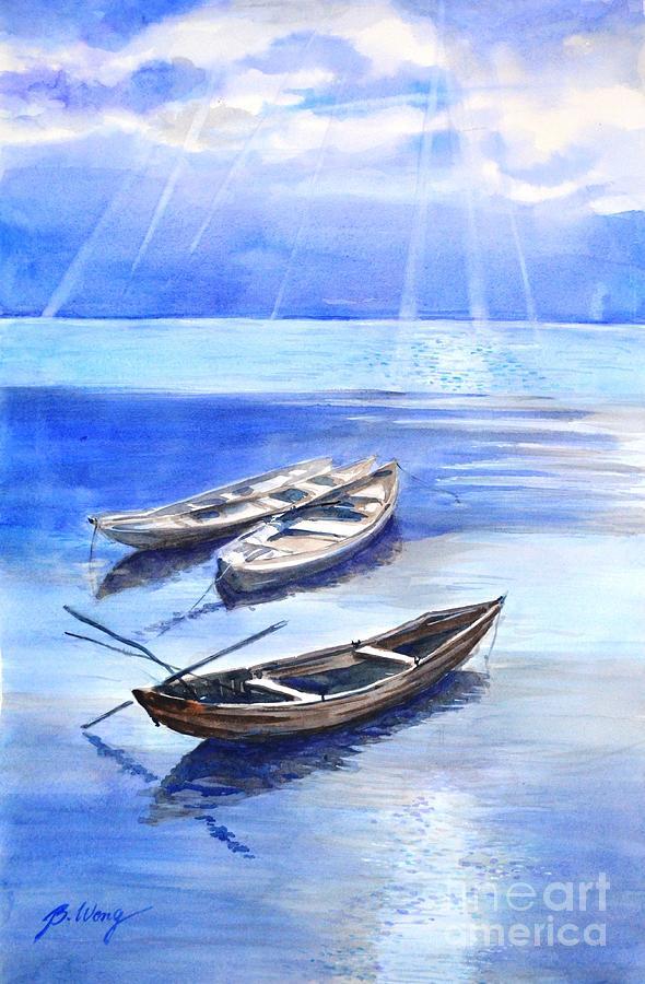 Boats Painting - Stillness by Betty M M Wong