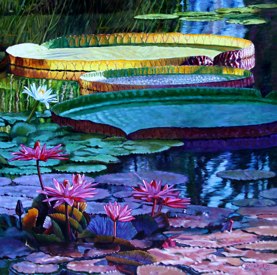 Garden Pond Painting - Stillness of Color and Light by John Lautermilch