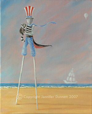 Oil Painting - Stilteur And Lemur by Jennifer Dunnett