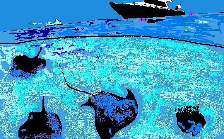 Sea Life Digital Art - Stingray Bay by Robert Rodriguez