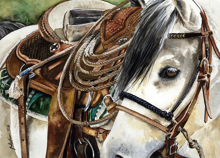 Cowboy Painting - Stirrup Up by Nadi Spencer