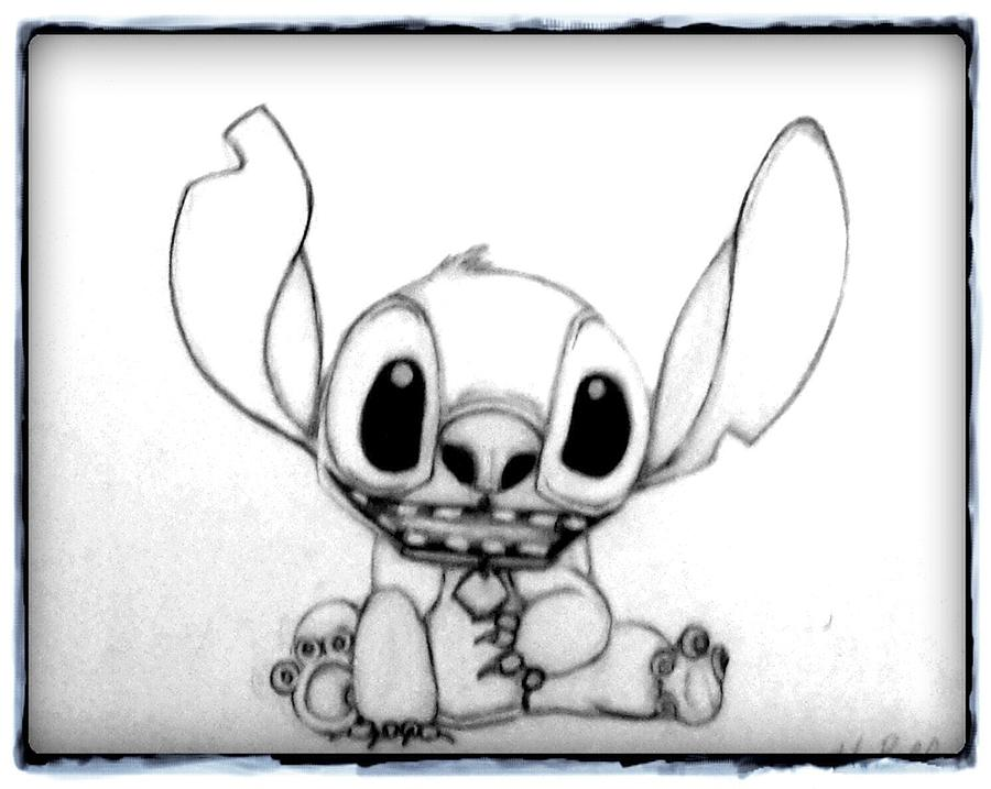 Cartoon Drawing - Stitch by Holly Bell
