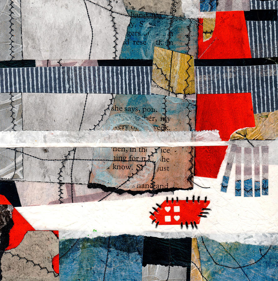 Collage Mixed Media - Stitching Love And Life Together She Says  by Laura  Lein-Svencner