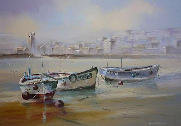 Boats Painting - St.ives Harbour by Mark Whittaker