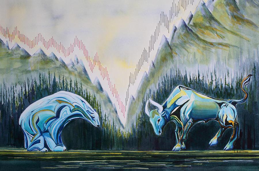Landscape Painting - Stock Market Titans by Sheila Kirk
