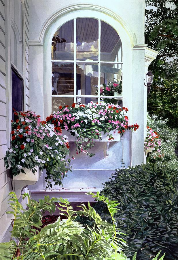 Watercolor Painting - Stockbridge Window Boxes by David Lloyd Glover