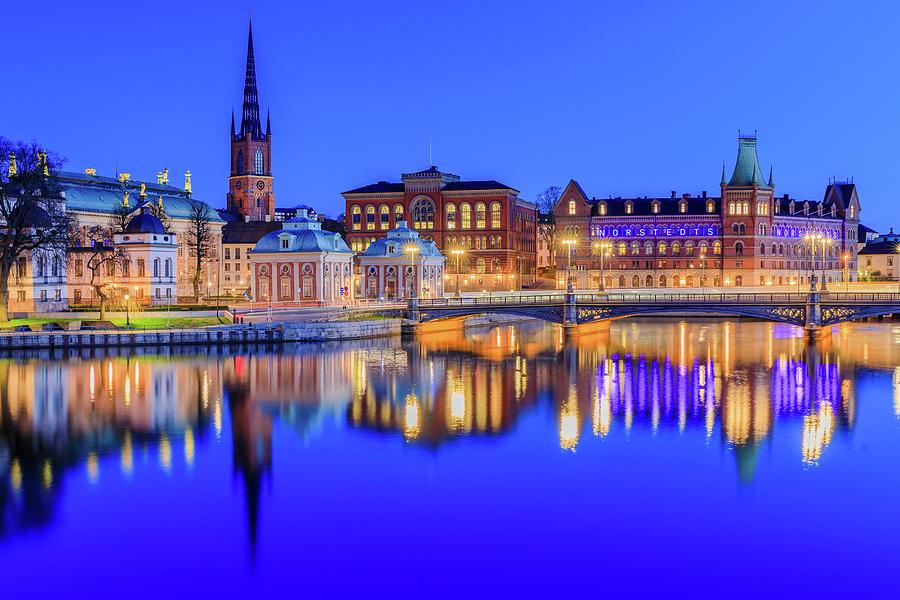 Stockholm Photograph - Stockholm Blue Hour Postcard by Dejan Kostic