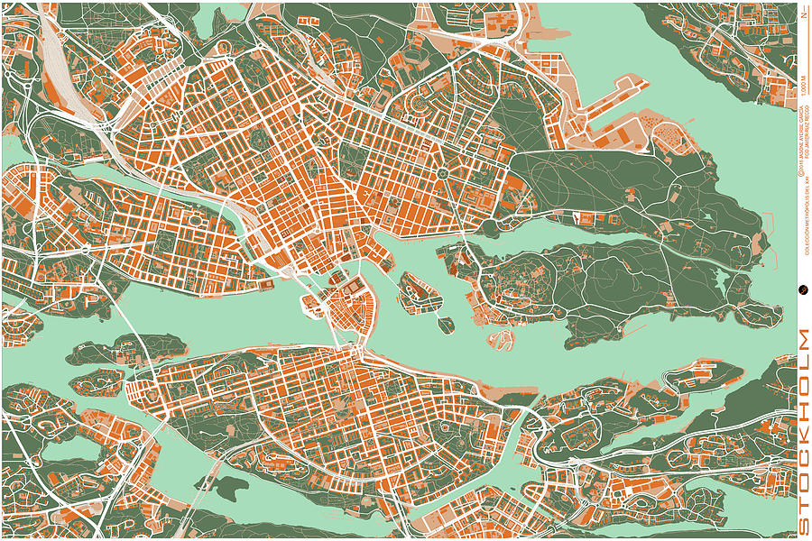 Stockholm City Map Digital Art by Jasone Ayerbe Javier R Recco