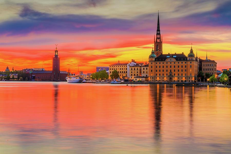 Fiery Photograph - Stockholm Fiery Sunset Reflection by Dejan Kostic