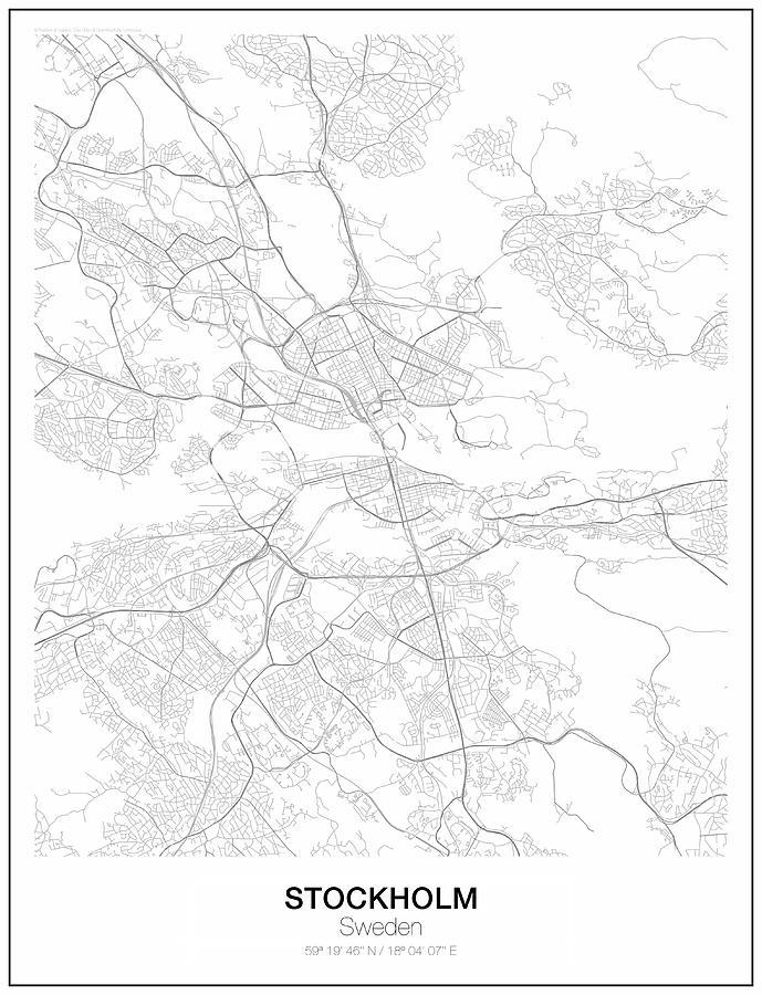 Stockholm Minimalist Map Digital Art by Lori Hinner