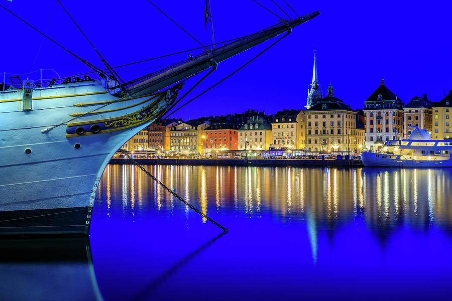 Stockholm Photograph - Stockholm Old City Blue Hour Serenity by Dejan Kostic