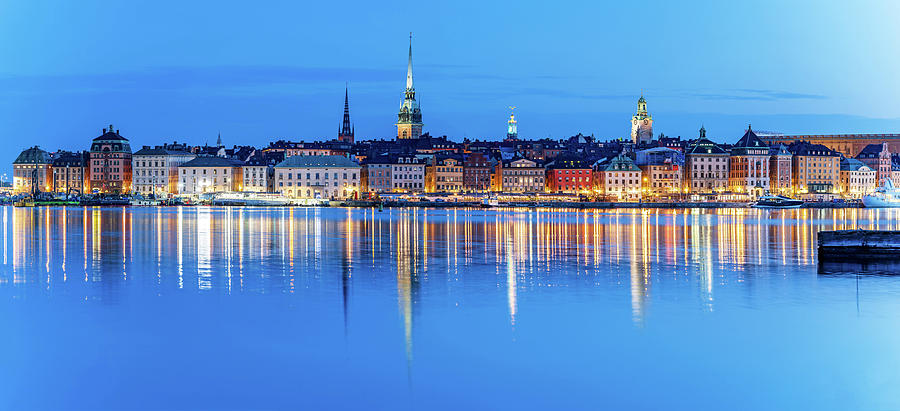 Stockholm Photograph - Stockholm Old City fantastic reflection in the Baltic Sea by Dejan Kostic