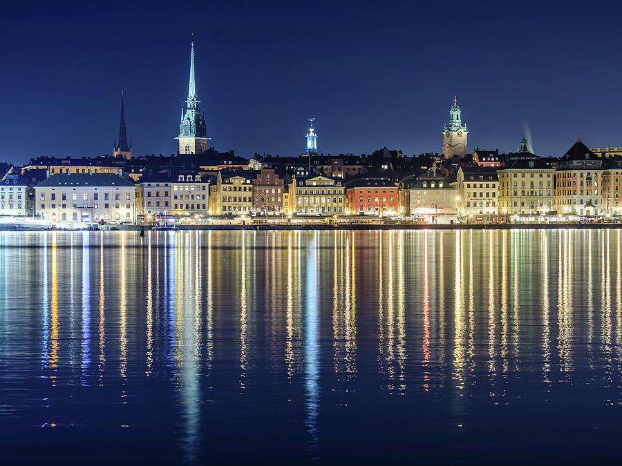 Stockholm Photograph - Stockholm Old City Magic Quartet Reflection In The Baltic Sea by Dejan Kostic