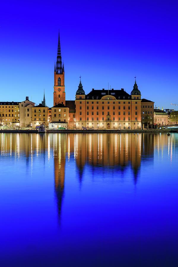 Stockholm Photograph - Stockholm Riddarholmen Blue Hour Reflection by Dejan Kostic