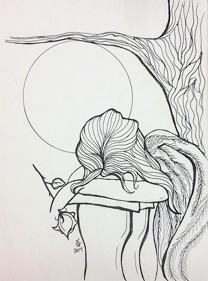 Angel Drawing - Stone Angel by Loretta Nash