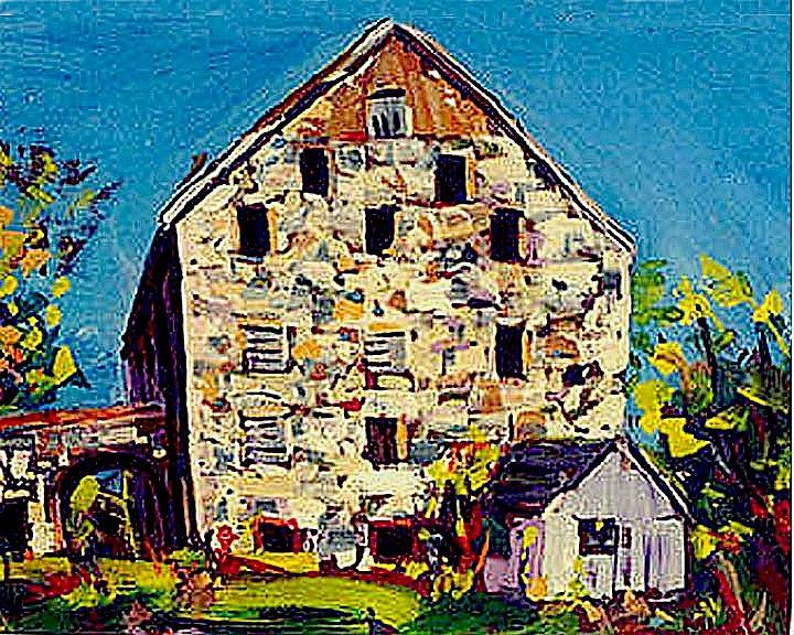 Barn Landscape Painting - Stone Barn by Michael Hudak