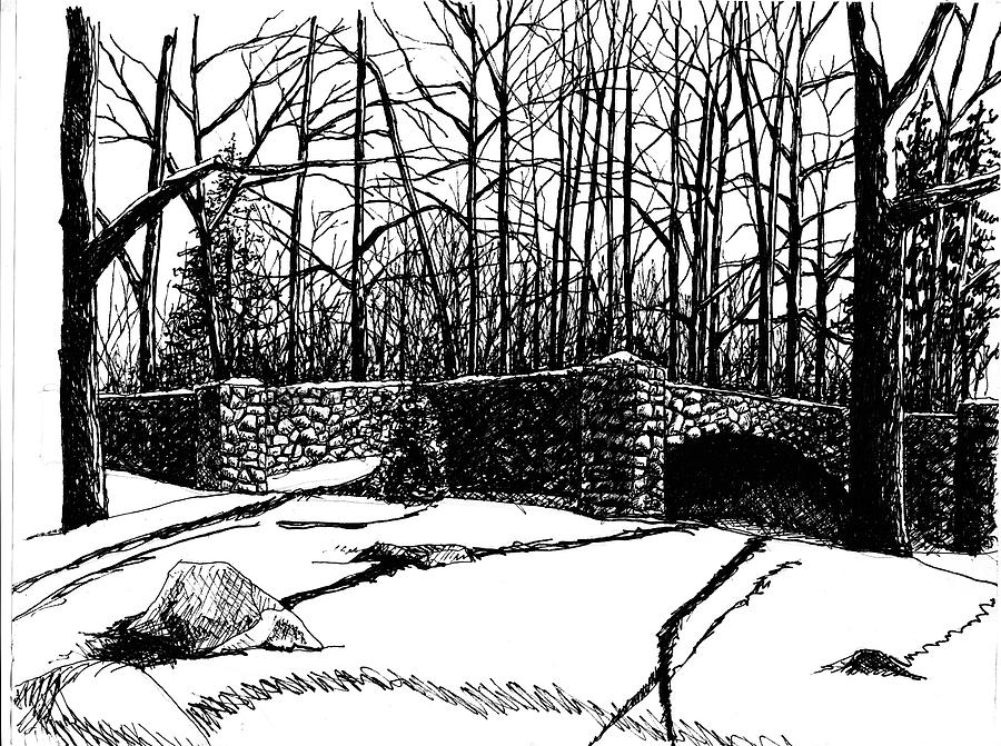 Landscape Drawing - Stone Bridge by Dan Mack