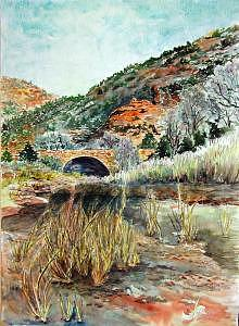 Stone Bridge In Zions Canyon Utah Print by Veda Hale