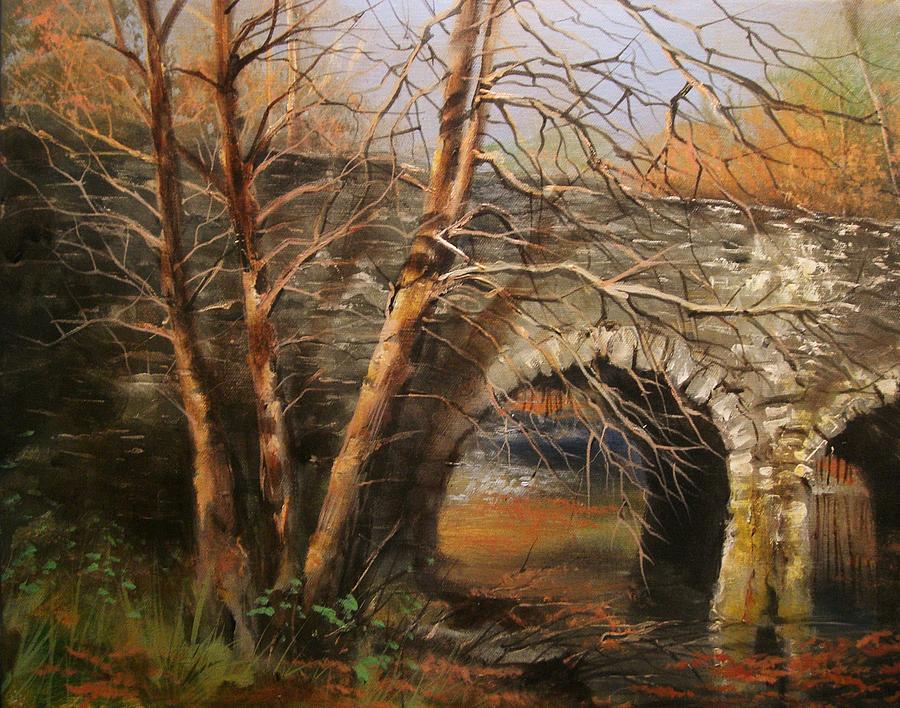 Autumn Painting - Stone Bridge by Tom Shropshire