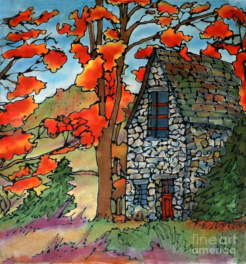 Fall Painting - Stone Cottage Silk Painting by Linda Marcille