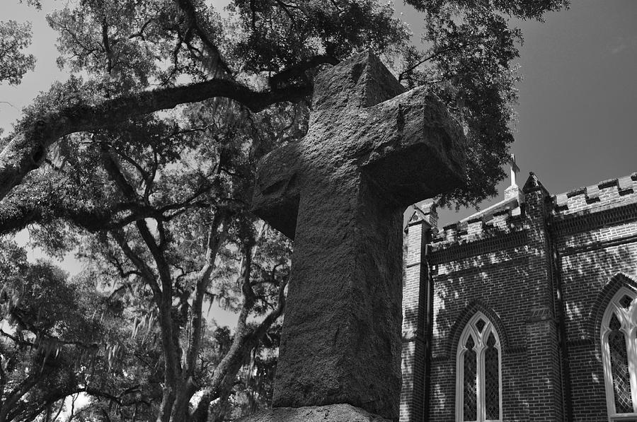 Cross Photograph - Stone Cross by James Luce