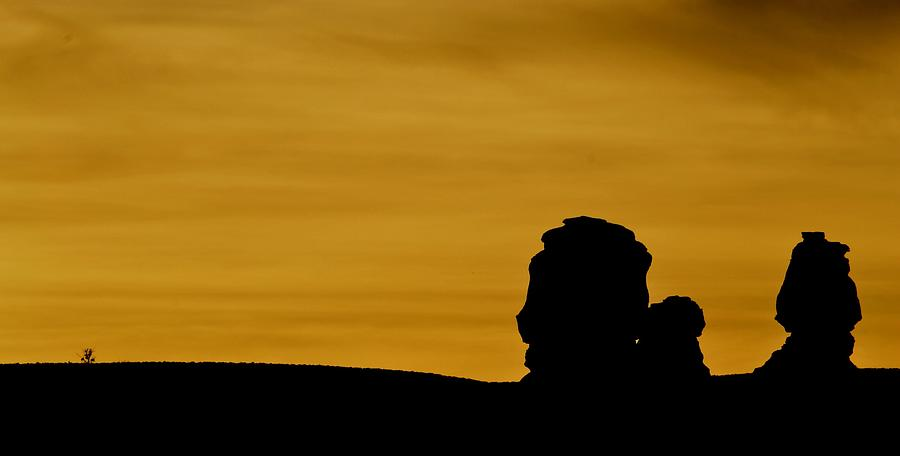Stone Heads At Sunset Photograph