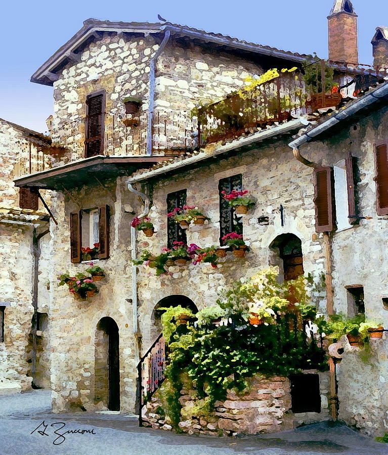 Stone house assisi italy painting by george zucconi for Pictures of italian houses
