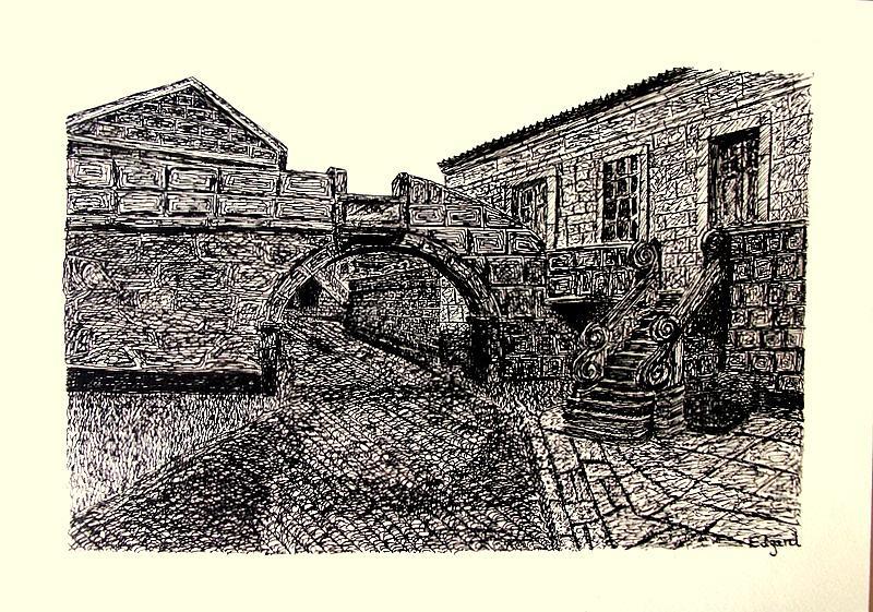 Stone House Drawing by Edgard Loepert