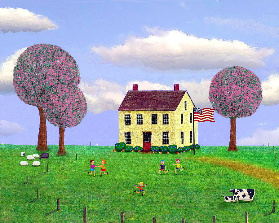 Folk Painting - Stone House In Spring by Paul Little