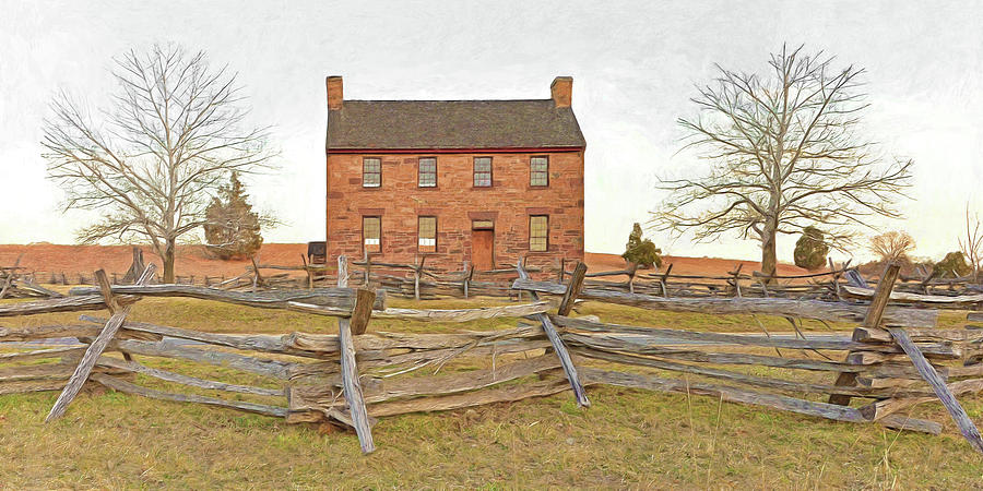 Stone House Digital Art - Stone House / Manassas National Battlefield / Winter Morning by Digital Photographic Arts
