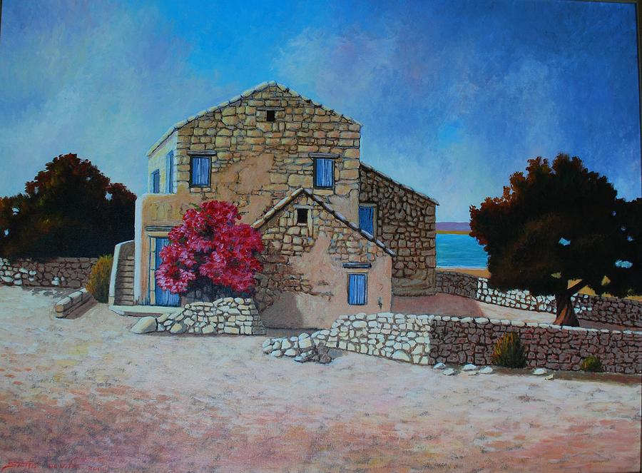 Seascape Painting - Stone House On The Beach by Santo De Vita
